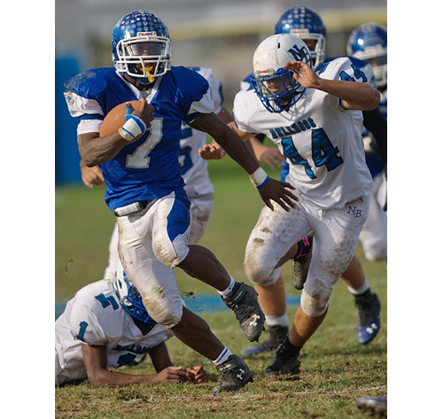 Riverhead running back Ryun Moore scored twice in Saturday's win over North Babylon. (Credit: Garret Meade)