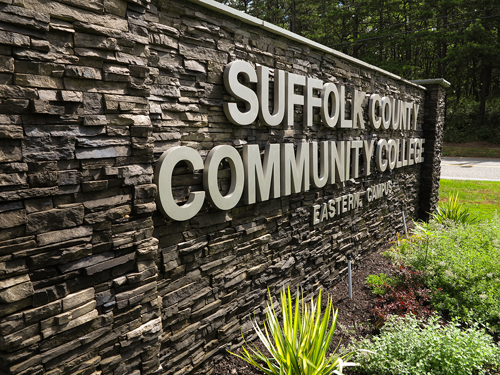 Entrance to the Eastern Campus of the Suffolk County Community College. (Credit: Gayle Sheridan)