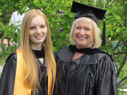 Emily Espenkotter, 20, and her grandmother, Kathleen Kearney, 66, at Saturday's Suffolk County Community College commencement in Brentwood.