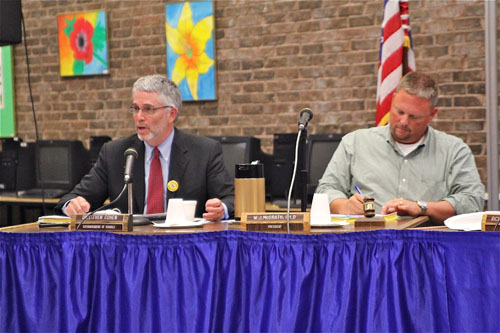 JENNIFER GUSTAVSON FILE PHOTO | Shoreham-Wading River school superintendent Steven Cohen (left) and board vice president Richard Pluschau. The school board meets