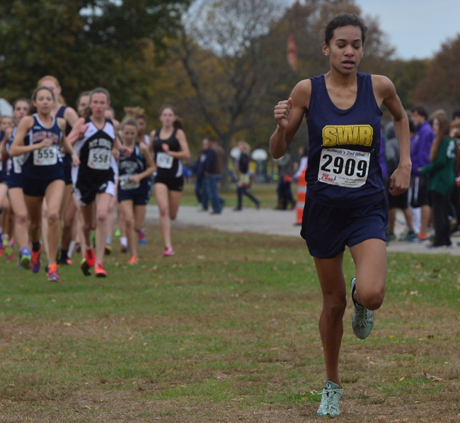 Shoreham-Wading River freshman Katherine Lee, pictured last week at the state qualifier, was the top finisher in the state at Saturday's Class B championship race in Canton, N.Y. (Credit: Robert O'Rourk)