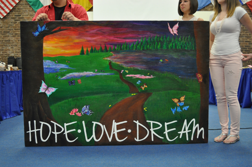 At Tuesday's school board meeting, Shoreham-Wading River High School students unveiled a mural they will send to Newtown, CT.