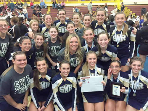 The Shoreham-Wading River cheerleading team earned its first bid to Nationals. (Credit: courtesy photo)