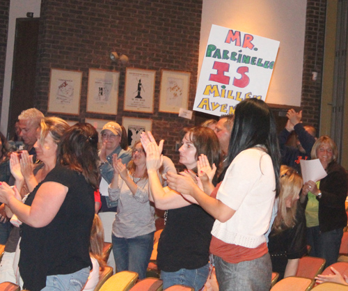 PAUL SQUIRE PHOTO | Miller Avenue parents and teachers rallying for popular principal Louis Parrinello