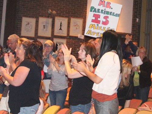 PAUL SQUIRE PHOTO | Parents and teachers rallying for popular principal Louis Parrinello.