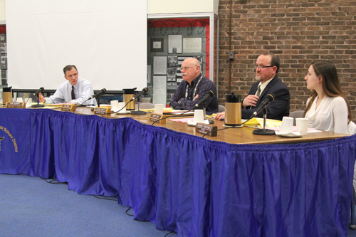 JENNIFER GUSTAVSON PHOTO  |  The Shoreham-Wading River School Board at Tuesday night's meeting.