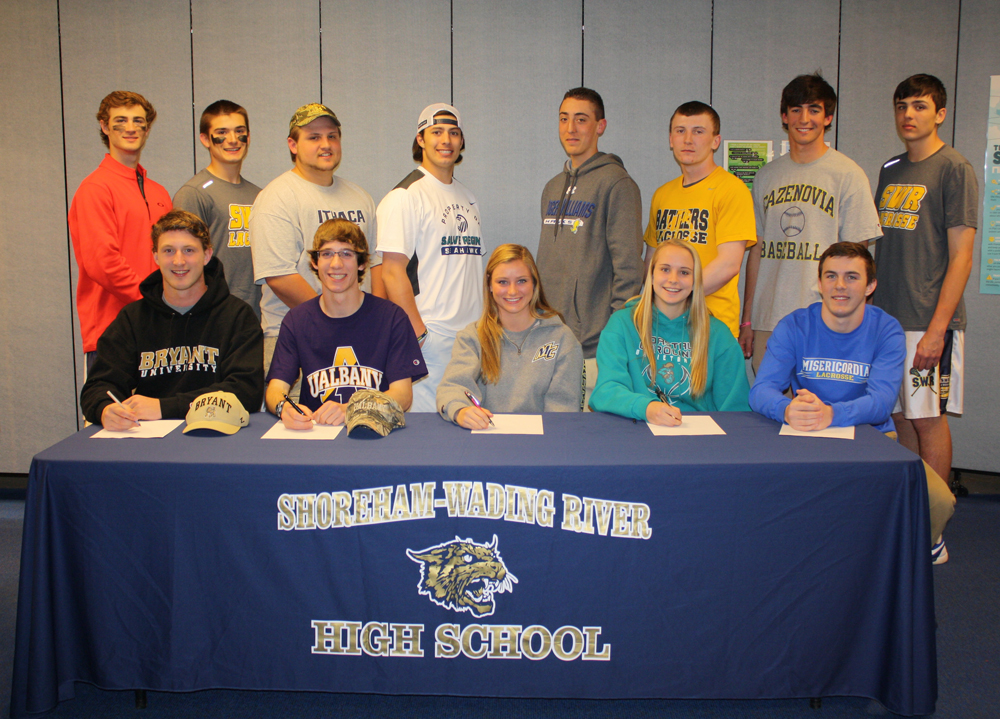 The signees were: (standing, from left) Ryan Bray, Steve Weindler, Bobby Puckey, Vinny Bruno, Nick Gray, Christian Clarkin, Michael Keller and Jack Zukowski. (Sitting, from left): Danny Hughes, Matt Gladysz, Erin Blomberg, Courtney Clasen and James Wood. (Credit: SWR School District)