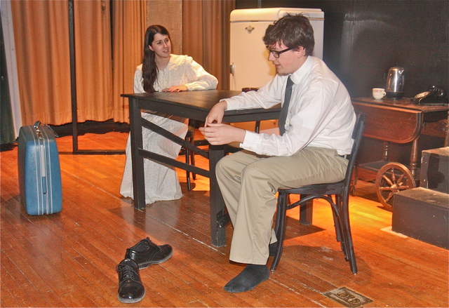 Danielle Allen of Riverhead as Linda and Ian Byrne of Baiting Hollow as Willy Loman her husband. (Barbaraellen Koch photo)