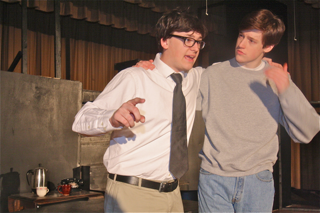 Ian Byrne of Baiting Hollow as Willy Loman and Patrick O'Brien of Riverhead as Biff his son. (Barbaraellen Koch photo)
