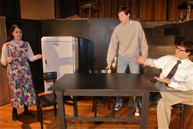 Danielle Allen of Riverhead as Linda (left), Ian Byrne of Baiting Hollow as Willy Loman (right), son Patrick O'Brien of Riverhead as Biff (center). (Barbarallen Koch photo)