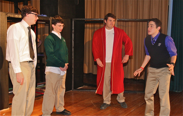 Ian Byrne of Baiting Hollow as Willy Loman (from left), Max Crean of Farmingville as Willy's older brother Ben, Pat Marelli of Aquebogue as Charley, and Johnny Tumminello of Jamesport as Bernard.