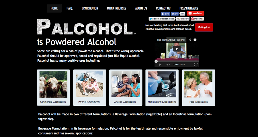 The palcohol.com homepage.