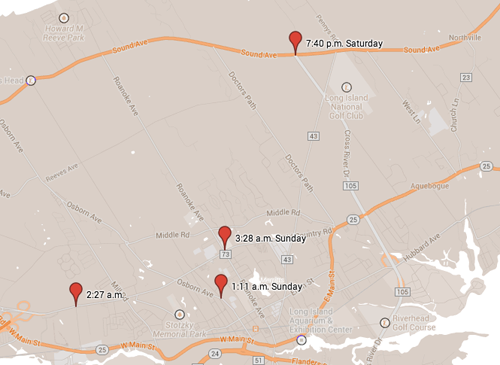 GOOGLE MAPS PHOTO | Red markers show the locations of four DWI arrests.