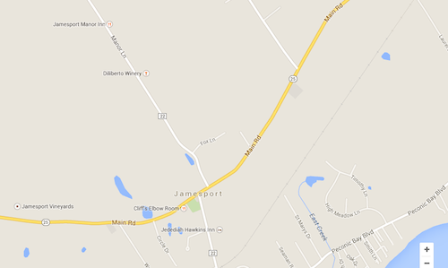 A male victim was struck on the Main Road east of Manor Lane in Jamesport around 9 p.m. (Credit: Google maps)