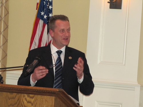 Riverhead Town Supervisor Sean Walter giving his State of the Town speech last Wednesday. (Credit: Tim Gannon)