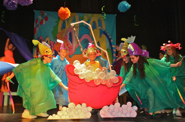 """Kate Chapman as Jo-Jo performing to the song """"It's Possible"""" in Act I of Seussical Jr. in rehearsal at the Vail-Leavitt Music Hall. (Credit: Barbaraellen Koch)"""