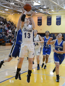 ROBERT O'ROURK PHOTO | Meghan King, playing in her final game for Shoreham-Wading River, posted 9 points, 13 rebounds, 4 blocks, 2 assists and 1 steal.