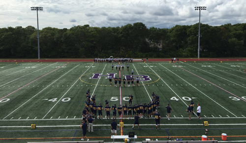Hampton Bays High School, the home of the Wildcats. Not quite, but for one game, Shoreham-Wading River was the official home team in Hampton Bays. (Credit: Bob Liepa)