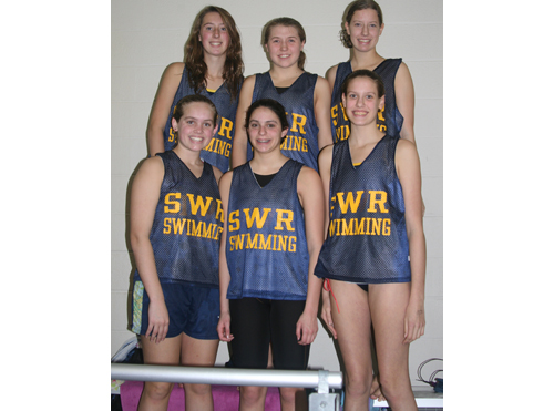 COURTESY PHOTO | All six of Shoreham-Wading River's swimmers improved on their times Saturday in the Section XI Championships. From left, top row: Rena Gabbia, Emily Anderson and Meghan Friberg; bottom row: Annie Loscalzo, Nichole Visintin and Keelyn Friberg.