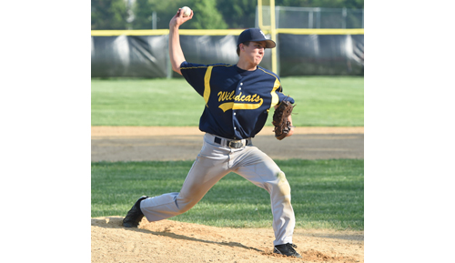 John Montesano pitched one inning of relief for Shoreham-Wading River in Bayport on Tuesday. (Credit: Robert O'Rourk)