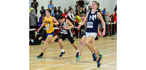 ROBERT O'ROURK PHOTO | From left, Shoreham-Wading River's Ryan Udvadia, Mount Sinai's Daniel Connelly, Tim McGowan and his brother Jack McGowan of Northport all finished within 0.25 seconds of each other in the 3,200 meters.