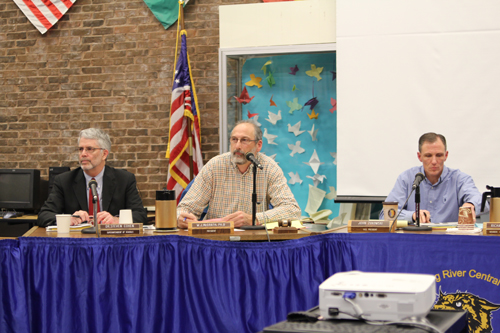 JENNIFER GUSTAVSON PHOTO | From left, Shoreham-Wading River School District Superintendent Steven Cohen, school board president Bill McGrath and vice president John Zukowski at Tuesday night's meeting.