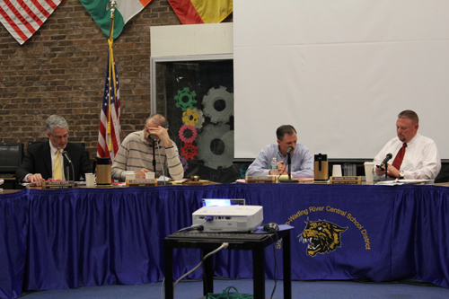Superintendent Steven Cohen (left) said on Tuesday night that spending under his proposed budget for next year would increase by about 1 percent. (Credit: Jennifer Gustavson)