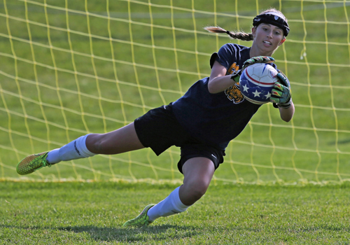 Lydia Kessel, a sophomore goalkeeper, recorded 17 shutouts last year and was Shoreham-Wading River's most valuable player. (Credit: Daniel De Mato, file)