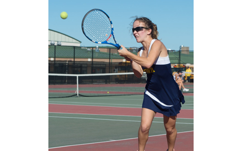 ROBERT O'ROURK PHOTO | Shoreham-Wading River senior Aimee Manfredo said her backhand was the MVP of her strokes Tuesday when she won her third Division IV singles title.