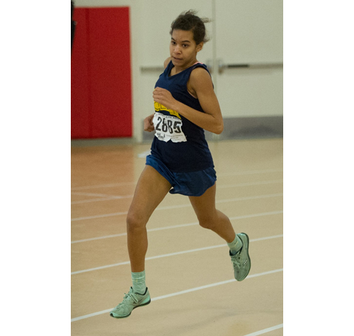ROBERT O'ROURK PHOTO | Shoreham-Wading River eighth-grader Katharine Lee was first in the 1,500 meters and second in the 600 on Sunday at Suffolk County Community College in Brentwood.