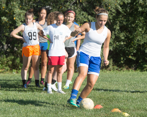 Riverhead senior Sierra Smith works on a ball-handling drill during practice. (Credit: Robert O'Rourk)