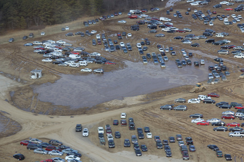 COURTESY PHOTO |    The Long Island Pines Barrens Society environmental group issued a press release March 1 that included this Feb. 1 aerial shot of the 35 acres where cars were being stored.