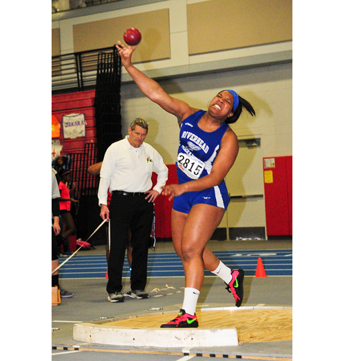 Riverhead senior Ra'Shae Smith finished second in the shot put at the League III Championship Saturday. (Credit: Bill Landon)
