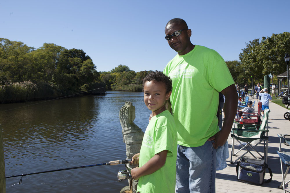 Sean Peyton, 8, of Riverhead with neighbor Willie Walker. (Photos by Katharine Schroeder)