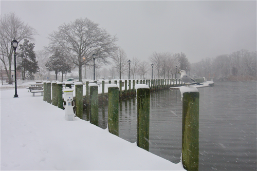 Peconic River downtown Riverhead after a snowstorm last February.  (Credit: Barbaraellen Koch, file)