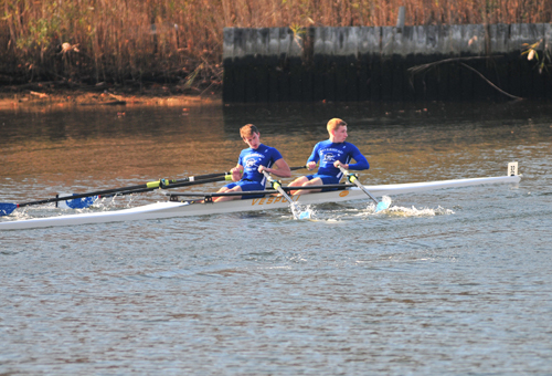 BILL LANDON PHOTO | Riverhead High School rowers at the Snowflake Regatta Sunday.