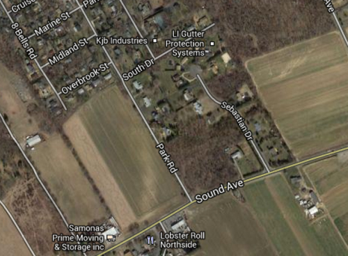 GOOGLE MAPS | The land Suffolk County is looking to preserve is on the west side of Park Road and fronts Sound Avenue.