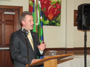 TIM GANNON PHOTO | Supervisor Sean Walter at his 'State of the Town' address last week in Calverton.