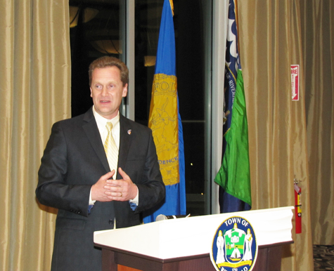 TIM GANNON FILE PHOTO | Supervisor Sean Walter delivering his 'State of the Town' address in March.