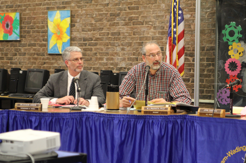 JENNIFER GUSTAVSON PHOTO | Shoreham-Wading River School District Superintendent Steven Cohen, left, and school board president Bill McGrath at Tuesday night's meeting.