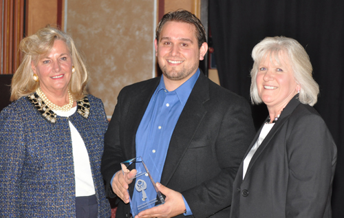 PAUL SQUIRE PHOTO | Award presenter Janine Nebons with Stony Brook Incubator  assistant director Patrick Iacono and director Monique Gablenz.