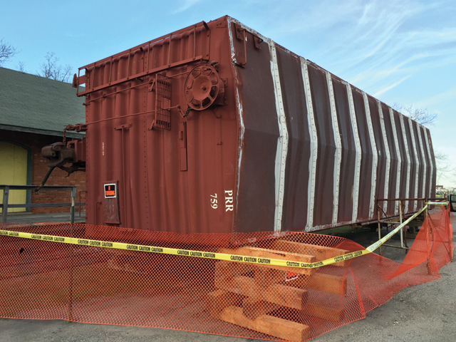 This 1960s boxcar was recently purchased by the Railroad Museum of Long Island using the estate money from Walter H. Milne. The boxcar, long coveted by the museum, completes a set on its track in Greenport. (Credit: Courtesy photo)