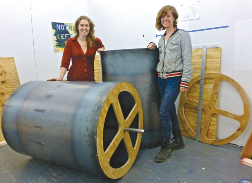 Cutchogue sisters building a giant interactive music box