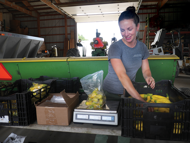 Farmer Lucy Senesac at Sang Lee Farms in Peconic. (Credit: Krysten Massa)