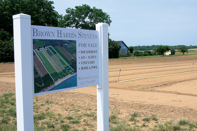 A farm for sale on Oregon Road in Mattituck. (Credit: Barbaraellen Koch)