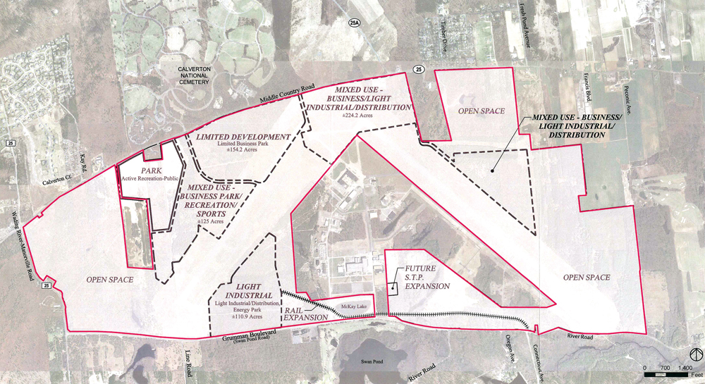 A proposed plan at Enterprise Park at Calverton calls for mixed use to house employees servicing other industries, eventually holding 300 residential units on site.