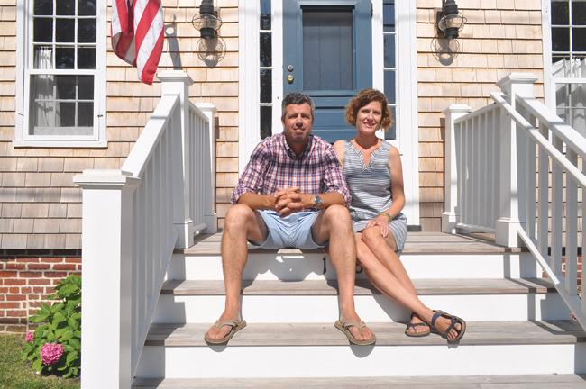 Michael and Alison Ventura outside their historic Village Lane home in Orient. The Cape Cod dates back to the 1700s. (Credit: Grant Parpan)