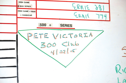 Pete Victoria's name is the only one listed for having bowled a 300 game. (Credit: Grant Parpan)
