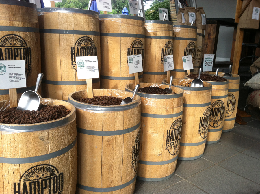 Hampton Coffee beans on display at the company's Southampton location, which opened last year. (Credit: Michael White)