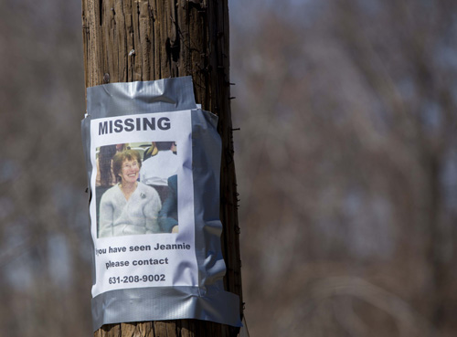 A poster in RIverside taped to a telephone pole last weekend, before Jean Taber was found. (Credit: Katharine Schroeder)